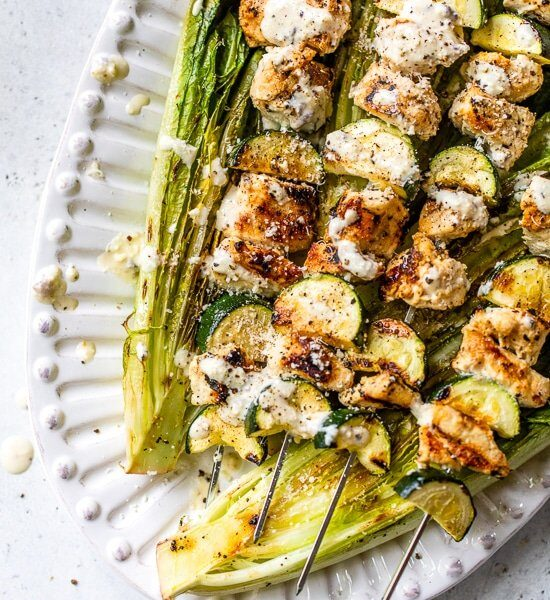 Caesar-Marinated Chicken Kabobs with Zucchini and Grilled Romaine